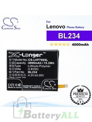 CS-LVP700SL For Lenovo Phone Battery Model BL234