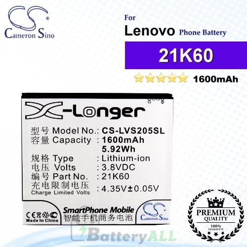 CS-LVS205SL For Lenovo Phone Battery Model 21K60