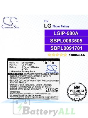 CS-KU990SL For LG Phone Battery Model LGIP-580A / SBPL0091701 / SBPL0083505