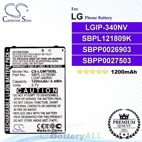 CS-LGM750SL For LG Phone Battery Model LGIP-340NV / SBPL121809K / SBPP0026903 / SBPP0027503