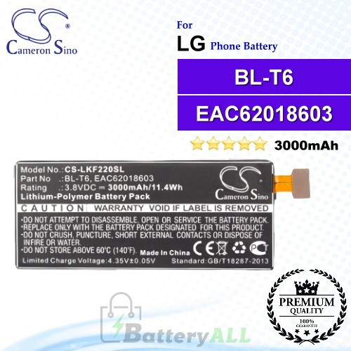 CS-LKF220SL For LG Phone Battery Model BL-T6 / EAC62018603
