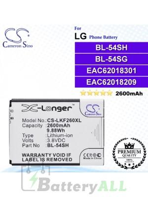 CS-LKF260XL For LG Phone Battery Model BL-54SH / BL-54SG / EAC62018301 / EAC62018209