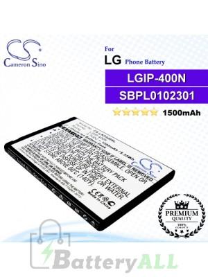CS-LKP509SLFor LG Phone Battery Model LGIP-400N / LGIP-400V / SBPL0102301 / SBPL0102302