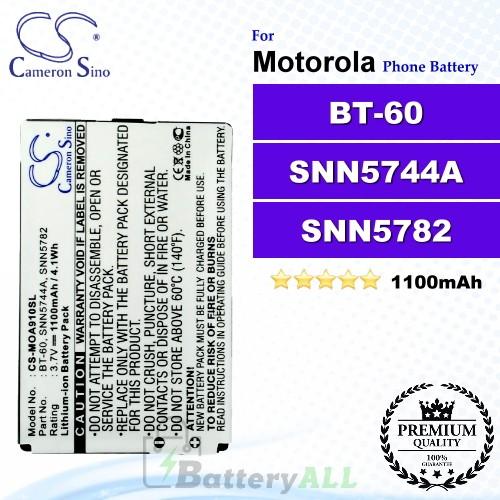 CS-MOA910SL For Motorola Phone Battery Model BT-60 / SNN5744A / SNN5782