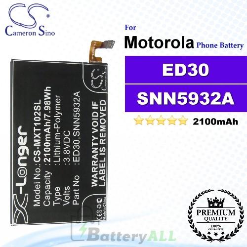 CS-MXT102SL For Motorola Phone Battery Model ED30 / SNN5932A