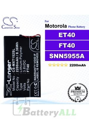 CS-MXT152SL For Motorola Phone Battery Model ET40 / FT40 / SNN5955A / SNN5956A