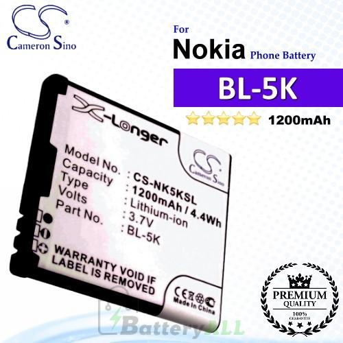 CS-NK5KSL For Nokia Phone Battery Model BL-5K