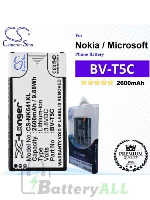 CS-NK641XL For Nokia / Microsoft Phone Battery Model BV-T5C