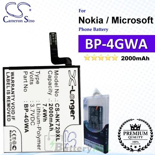 CS-NK720XL For Nokia / Microsoft Phone Battery Model BP-4GWA