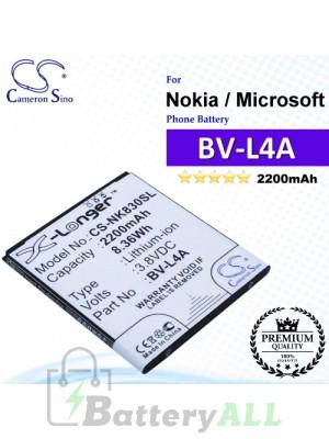 CS-NK830SL For Nokia / Microsoft Phone Battery Model BV-L4A
