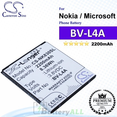 CS-NK830SL For Nokia / Microsoft Phone Battery Model BV-L4A