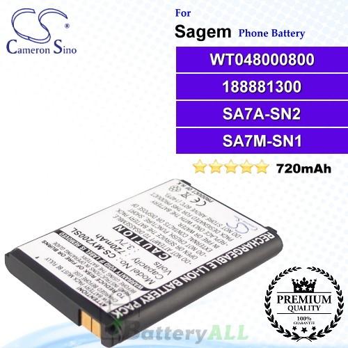 CS-MY200SL For Sagem Phone Battery Model WT048000800 / 188881300 / SA7A-SN2 / SA7M-SN1