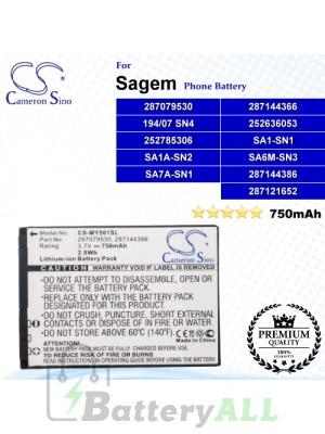 CS-MY501SL For Sagem Phone Battery Model 194/07 SN4 / 252636053 / 252785306 / 287079530 / 287144366 / 287144386 / SA1A-SN2 / SA1-SN1 / SA6M-SN3 / SA7A-SN1