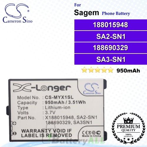 CS-MYX1SL For Sagem Phone Battery Model 188015948 / 188690329 / ATEM-SN1 / SA1A-SN1 / SA1A-SN3 / SA1N-SN3 / SA2A-SN2 / SA2-SN1 / SA3-SN1