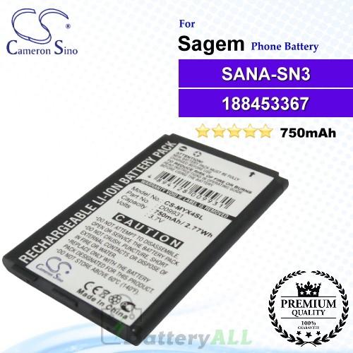 CS-MYX4SL For Sagem Phone Battery Model SANA-SN3 / 188453367