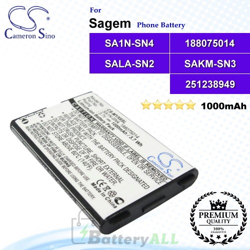 CS-MYX6SL For Sagem Phone Battery Model 188075014 / BA40 / SA1N-SN4 / SAJN-SN2 / SAKM-SN3 / SALM-SN2 / SALM-SN3