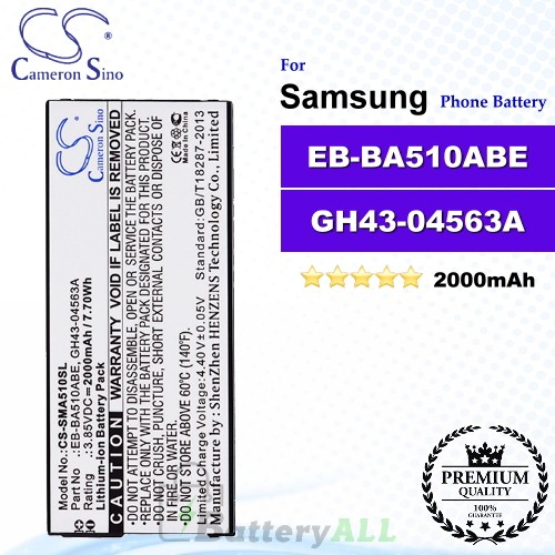 CS-SMA510SL For Samsung Phone Battery Model EB-BA510ABE / GH43-04563A