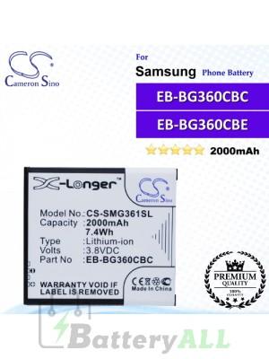 CS-SMG361SL For Samsung Phone Battery Model EB-BG360BBE / EB-BG360CBC / EB-BG360CBE / EB-BG360CBU / EB-BG360CBZ