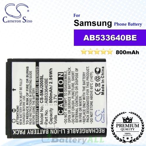 CS-SMJ200SL For Samsung Phone Battery Model AB533640BE