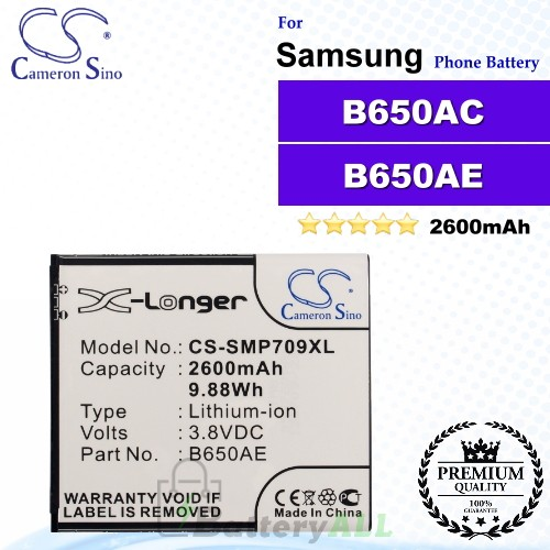 CS-SMP709XL For Samsung Phone Battery Model B650AE / B650AC