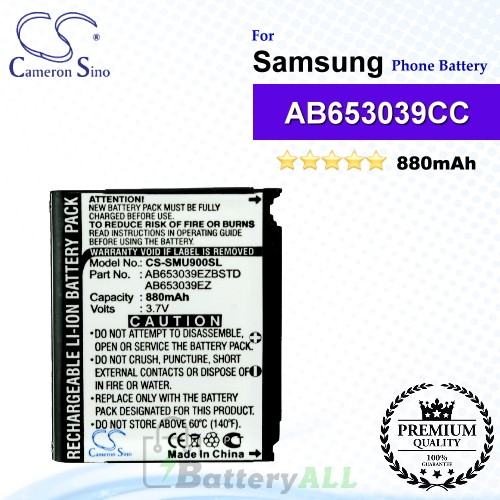 CS-SMU900SL For Samsung Phone Battery Model AB653039CC