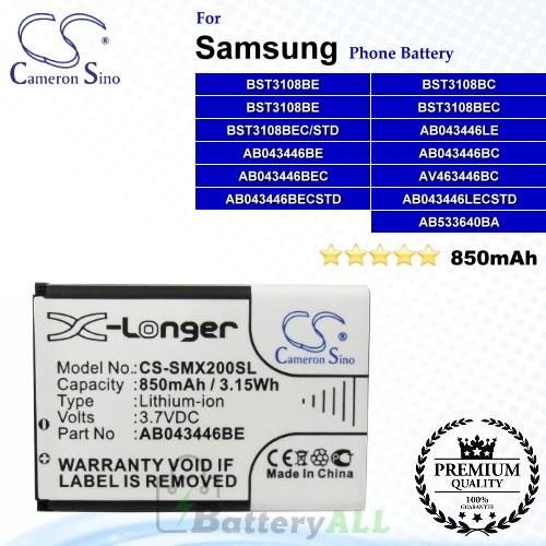 CS-SMX200SL For Samsung Phone Battery Model AB043446BC / AB043446BE / AB043446LA / AB043446LE / AB043446LN / AB463446BC / AB533640BA / BST3108BC / BST3108BE / BST3108BEC / BST3108BEC/STD
