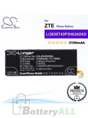 CS-ZNX505SL For ZTE Phone Battery Model Li3803T43P3hB34243 / Li3830T43P3hB34243i