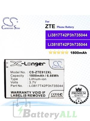 CS-ZTE912XL For ZTE Phone Battery Model Li3817T42P3h735044 / Li3818T42P3h735044
