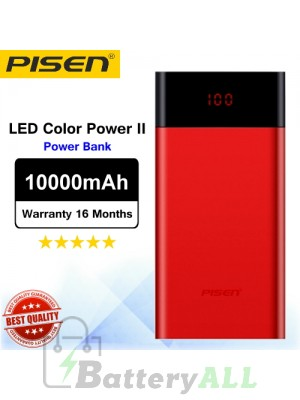 Original Pisen Power bank LED Color Power II PowerBank 10000mAh Red