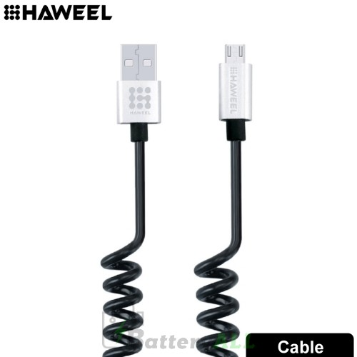 HAWEEL 2A Micro USB to USB 2.0 Retractable Coiled Data Sync Charging Cable HWL1022S