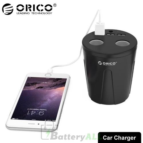 ORICO MP-3U2S-V1 Dual Cigarette Lighter Socket + Triple 2.4A USB Ports Cup Shaped Car Charger CMS8703B
