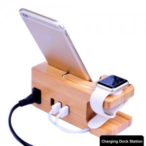 Multi-function Carbonized Bamboo 3 USB Ports Charging Dock Holders Stand Cradle Bracket SAS2421A