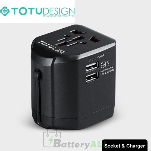 TOTUDESIGN 2.5A Total Output Universal Adapter Dual USB Ports Travel Charger with LED Indicator SAS5046