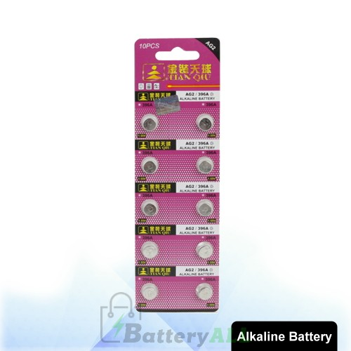 10 PCS AG2 / 396A 1.55V Alkaline Button Battery S-LIB-0303