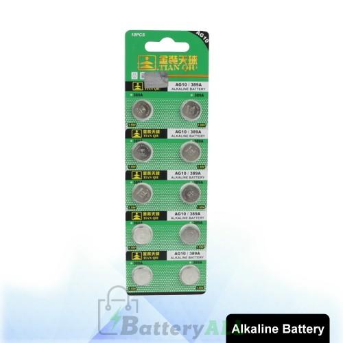 10 pcs AG10 / 389A 1.55V Alkaline Button Battery S-LIB-0316