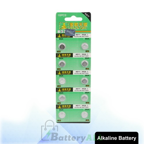 10 PCS AG11 / 362A 1.55V Alkaline Button Battery S-LIB-0317