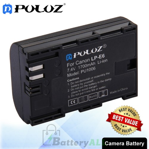 PULUZ LP-E6 7.4V 1700mAh Camera Battery for Canon 5D Mark II III IV 5D2 5D3 5D4 5DS 5DS R 6D Mark II 7D Mark II 6D 7D 80D 70D 60D 60Da PU1006