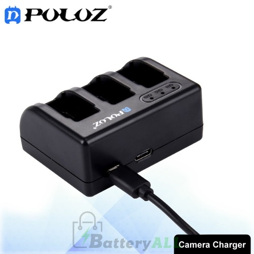 PULUZ for GoPro HERO6 /5 AHDBT-501 3-channel Battery Charger with Micro USB Port & USB-C / Type-C Port & LED Indicator Light PU185