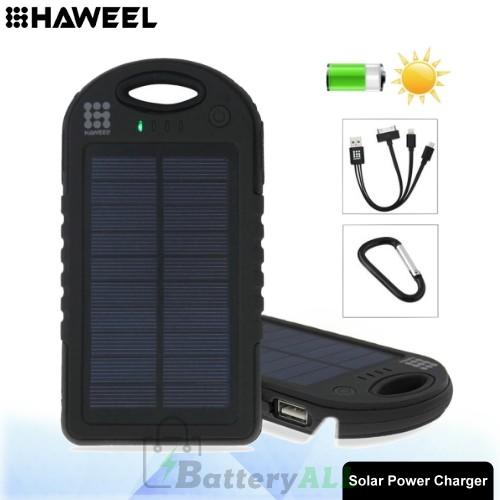 HAWEEL 8000mAh Double USB Power Bank Solar Charger with LED Flash Light HWL-9050B